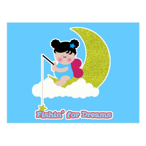fish for dreams cute lil baby fairy on moon cloud postcard