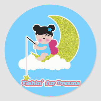 fish for dreams cute lil baby fairy on moon cloud round sticker