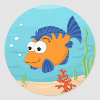 Fish for kids round stickers