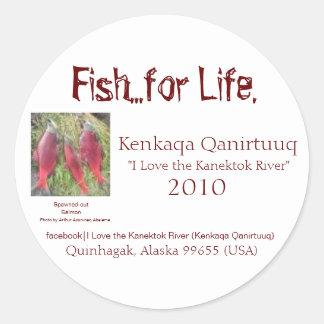 Fish...for Life., Kenkaqa Qanirt... Classic Round Sticker