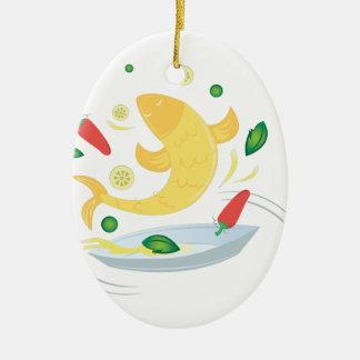 Fish Fry Ceramic Ornament