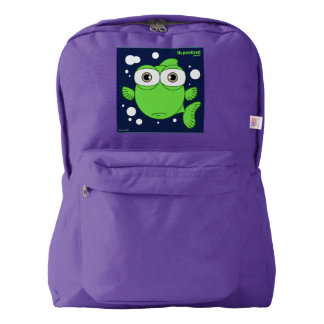 Fish(Green) Backpack, Amethyst American Apparel™ Backpack