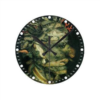 Fish (Green) by Arcemboldo Round Wall Clock