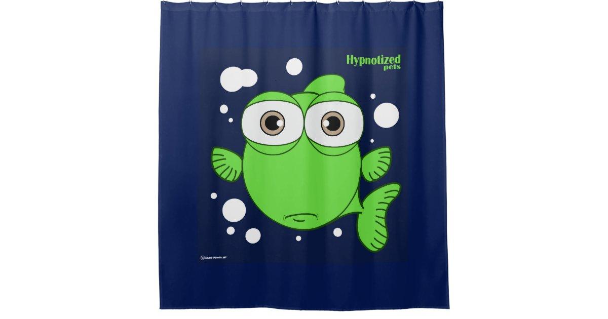 Fish (Green, navy Blue Bg) Shower Curtain | Zazzle