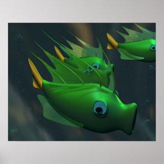 Fish Green Poster
