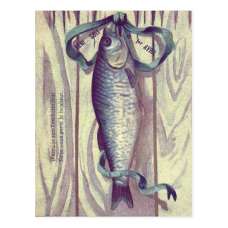 Fish Green Ribbon French Door Postcard