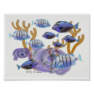 Fish groups Swimming painting 3 Poster