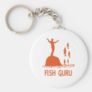 Fish Guru Basic Round Button Keychain
