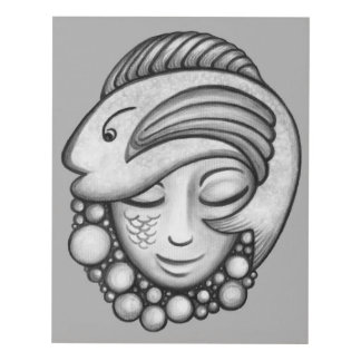 Fish Hat Girl Black and White Panel Wall Art