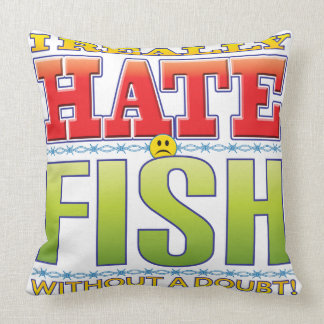 Fish Hate Face Throw Pillows