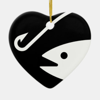 Fish Head and Hook - Black and White Ornament