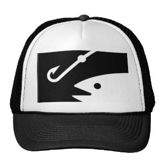 Fish Head and Hook - Black and White Trucker Hat