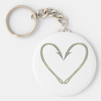 Fish Hook Heart Keychain