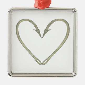 Fish Hook Heart Metal Ornament