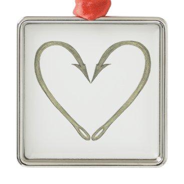 Valentines Themed Fish Hook Heart Metal Ornament