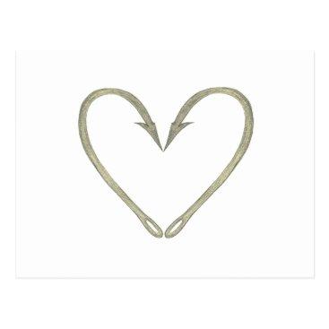 Valentines Themed Fish Hook Heart Postcard
