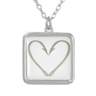 Fish Hook Heart Silver Plated Necklace
