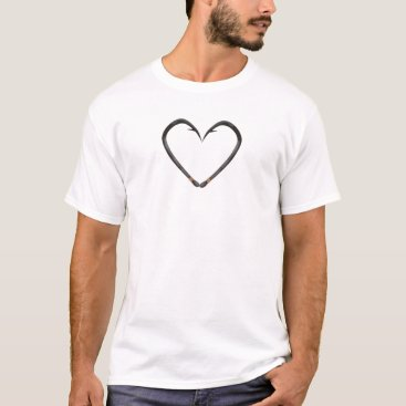 Valentines Themed Fish Hook Heart T-Shirt