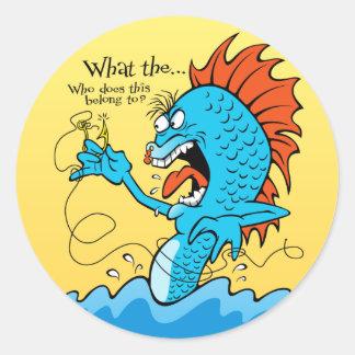 Fish Hooked Classic Round Sticker