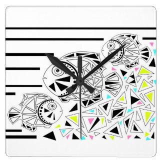 Fish . Horoscope . Square Wall Clock