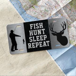 Fish Hunt Sleep Repeat License Plate