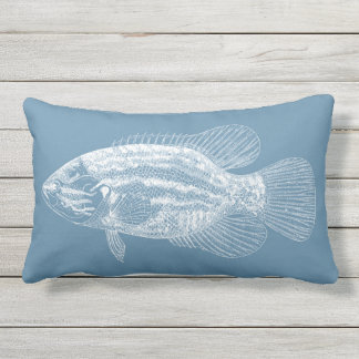 Fish Illustration Medium Blue and White Outdoor Pillow