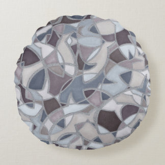Fish in a Frenzy Abstract Art Round Pillow