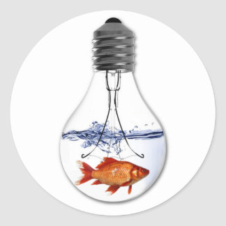 Fish in a Light Bulb   quirky Goldfish Design Classic Round Sticker