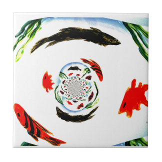 """""""Fish in a Spin"""" Fun Abstract Underwater Art Ceramic Tile"""