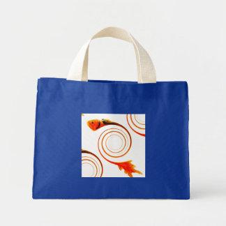 Fish in a Swirl abstract art Mini Tote Bag