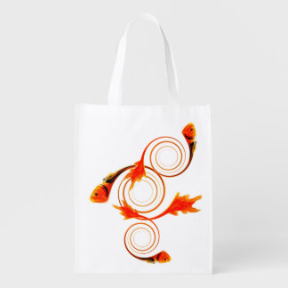 Fish in a Swirl abstract art Reusable Grocery Bags