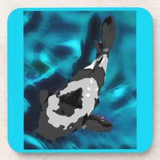 Fish in Aquarium, Black, Grey and Blue Coaster