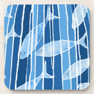 Fish in Blue Striped Tank Drink Coasters