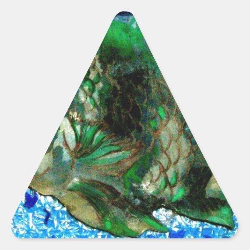 fish in Blue Water Triangle Sticker