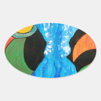 fish in conversation oval sticker