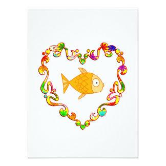 Fish in Fancy Heart 5.5x7.5 Paper Invitation Card