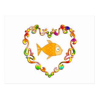 Fish in Fancy Heart Postcard