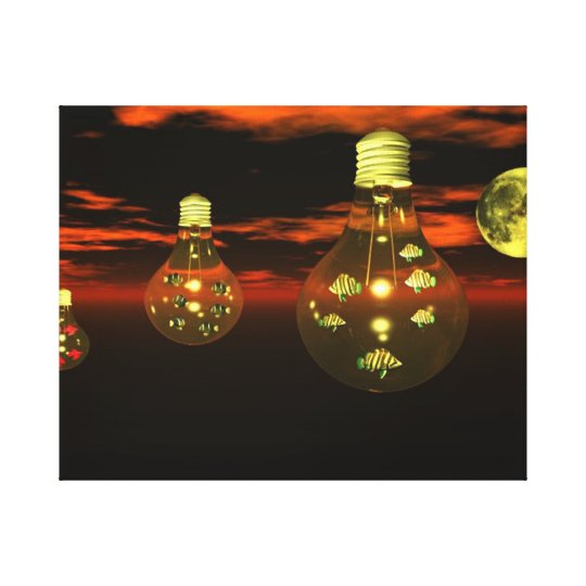 Fish in Lightbulbs Wrapped Canvas