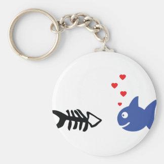 fish in love icon basic round button keychain