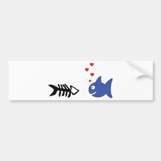 fish in love icon bumper sticker