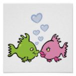 fish in love valentine poster