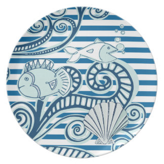 Fish in Ocean Blue and White Stripe Melamine Plate