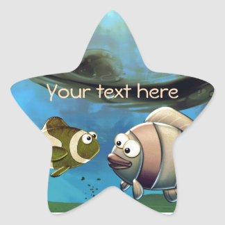Fish in Ocean Star Sticker