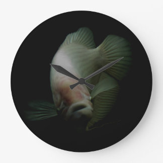 Fish in Tank Portrait Large Clock
