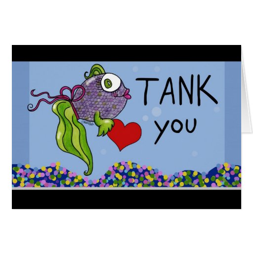 Fish In Tank Thank You Card Zazzle