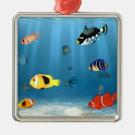 Fish In The Ocean Square Metal Christmas Ornament