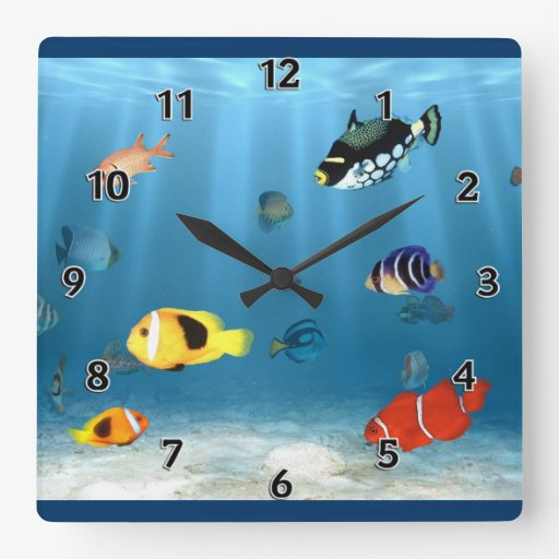 Fish In The Ocean Square Wall Clock