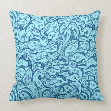 Beach Themed Fish in the Sea Blue Throw Pillow