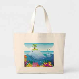 fish, island and coral in the sea tote bags