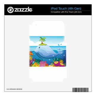 fish, island and coral in the sea decal for iPod touch 4G